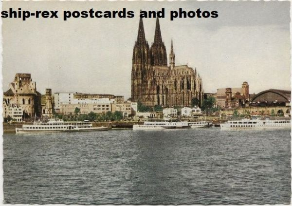 Cologne (Germany) cathedral & steamers, postcard (b)